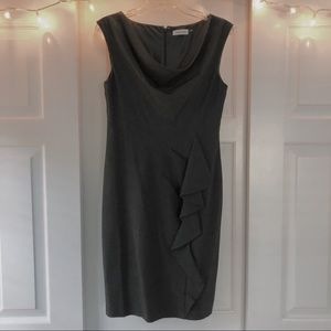 Calvin Klein Gray Ruffle Front Dress Barely Worn!